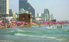Tel-Aviv beach is a popular holiday spot for tourists and Israelis