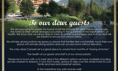 kosher summer vacation options during coronavirus pandemic (COVID-19) - kosher hotels and villas in Canazei northern Italy Alps